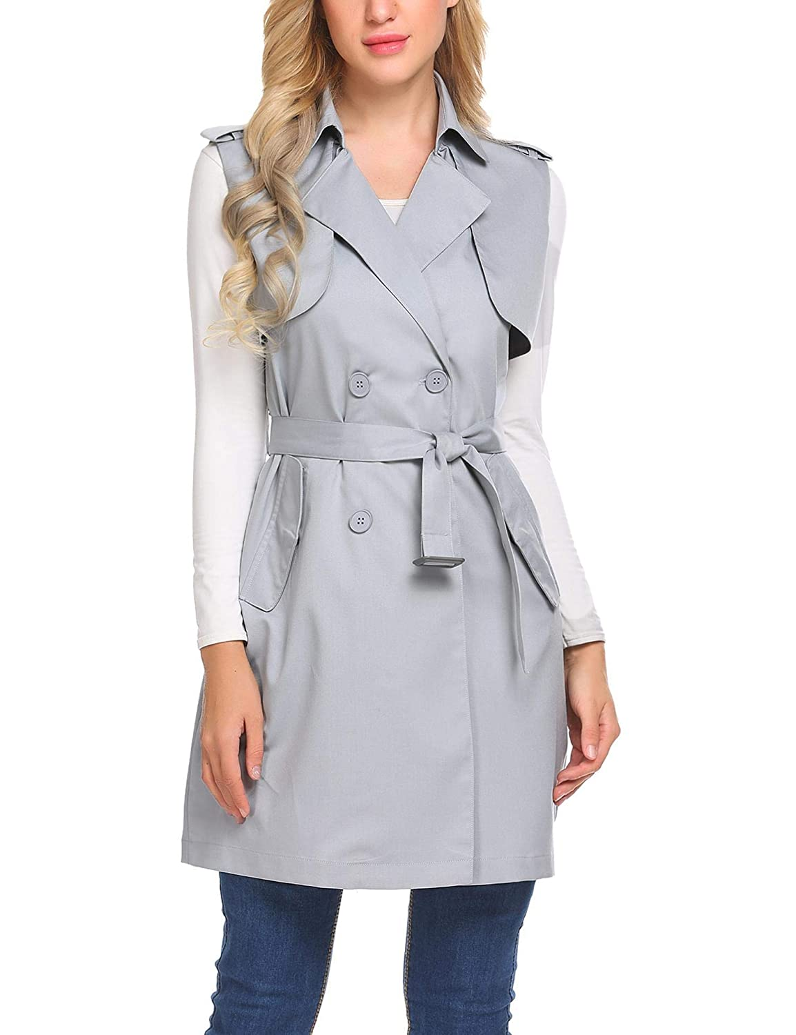 Mofavor Womens Long Sleeveless Trench Coat Double Breasted Vest Blazer Jacket with Belt S-XXL