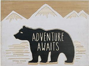 NIKKY HOME Cute Bear Decorative Wood Framed Wall Art Prints Cabin Decor - Adventure Awaits - 16