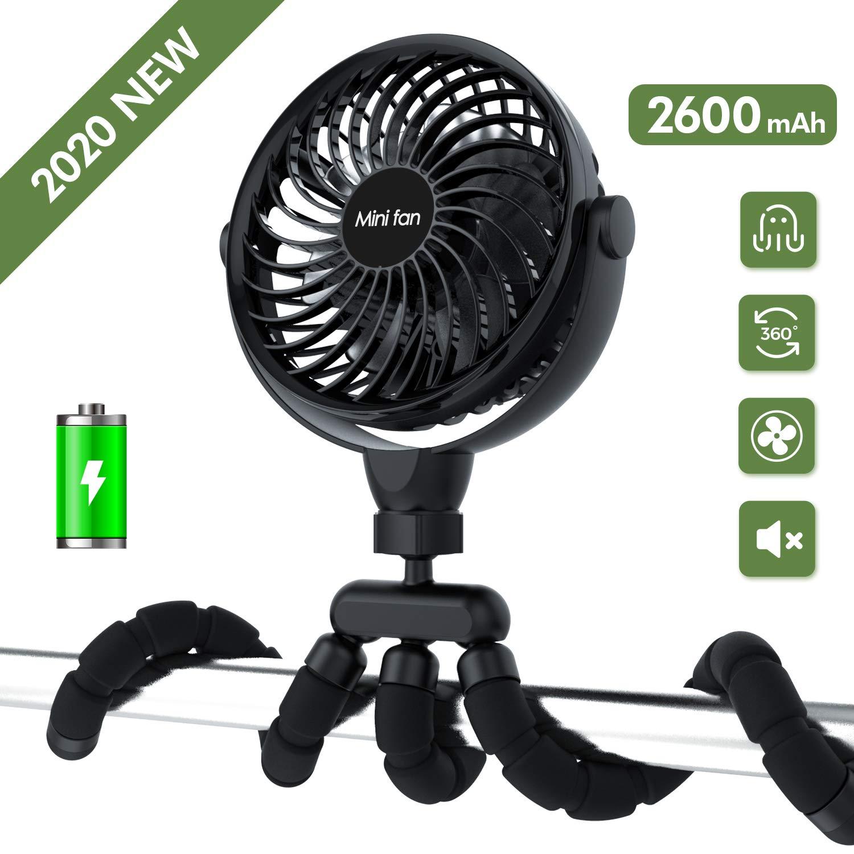 2200mAh Rechargeable Battery Powered Clip Fan Personal Desk Baby Fan Air Circulator Fan with Flexible Tripod Quiet 3 Speed 360/° Rotatable USB Fan for Stroller Bike Camping Portable Handheld Fan