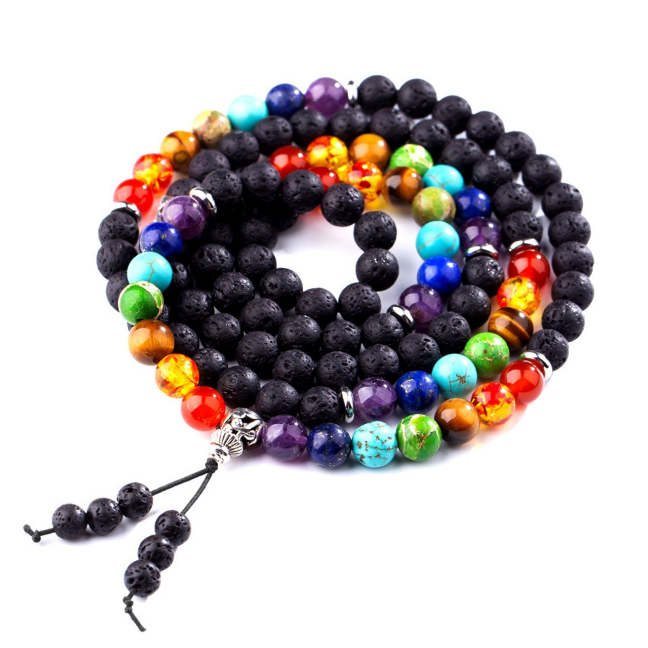 Domika 6mm Lava Rock Stone 7 Chakra Healing Crystal Beads Meditation Bracelet with Tree of Life Charm (Multi color 8mm)