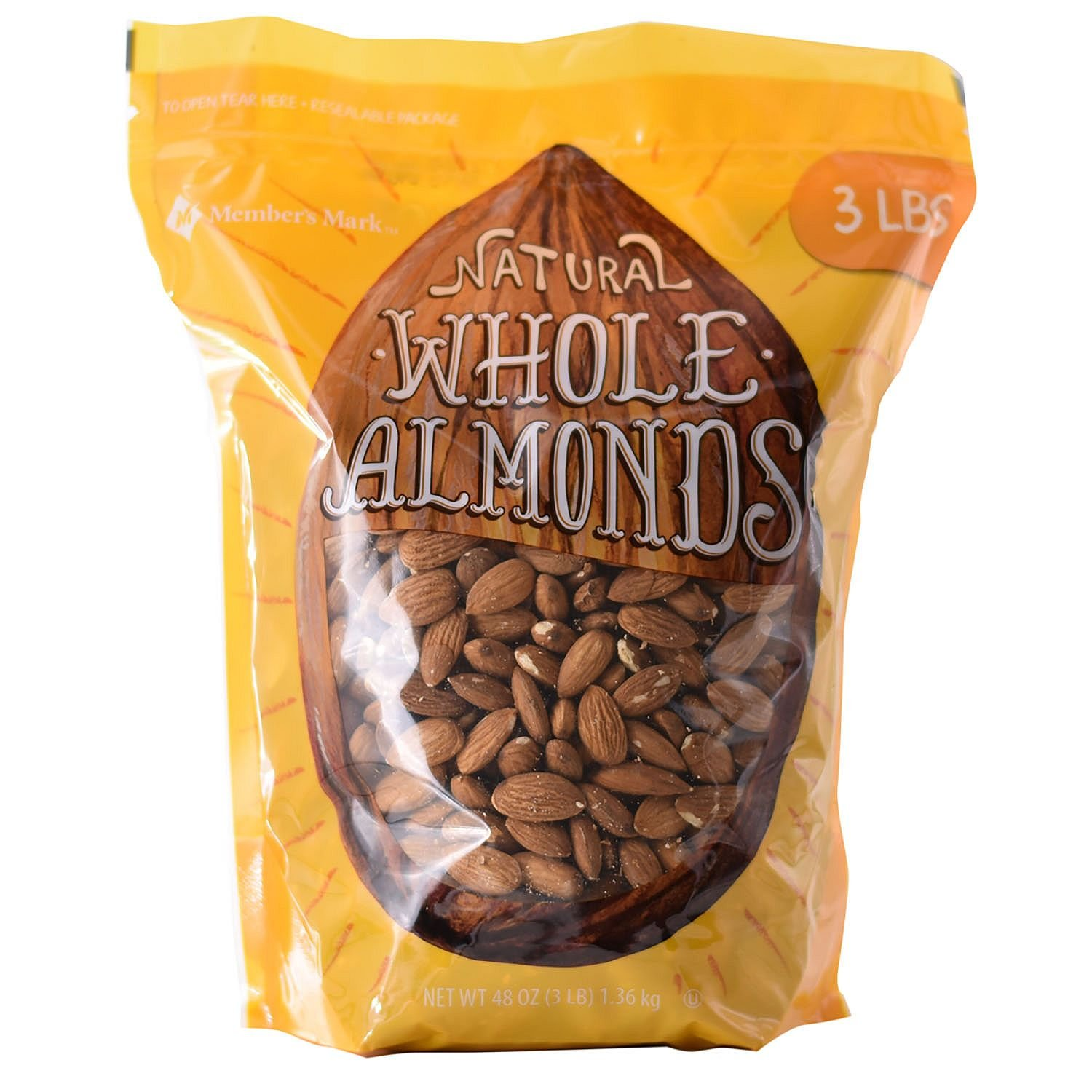 Member's Mark Whole Almonds (3 lbs.) (pack of 6)