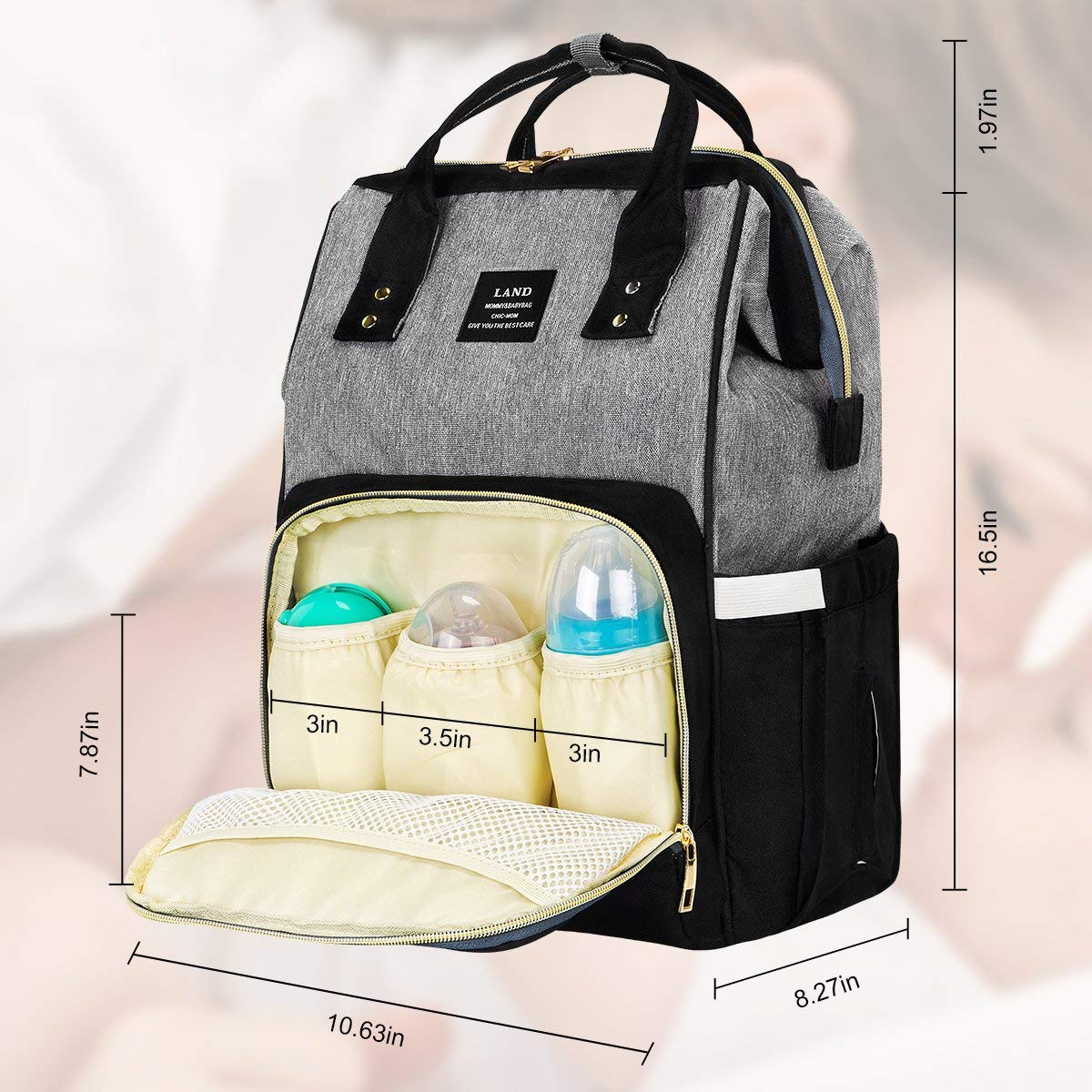 Landuo Diaper Bag Multi-Function Waterproof Travel Backpack Large Nappy Bags for Baby Care, Large Capacity, Stylish and Unisex (Grey-Black)