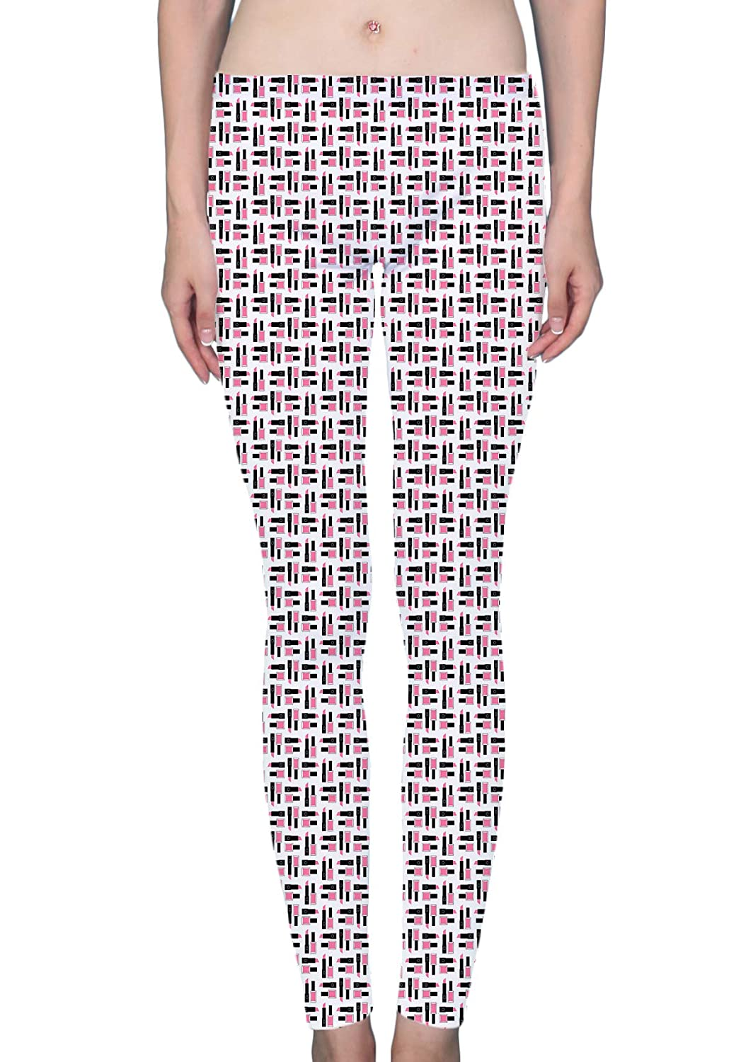 8b9b775c68d677 LuxSweet Cute Pink Lipstick and Nail Polish Women's Printed Leggings Soft  Stretchy Workout Yoga Pants Fashion Sports Pants at Amazon Women's Clothing  store: