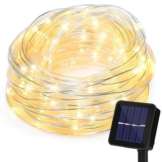 43 opinioni per 10m Catena Luminosa Energia Solare con Protezione Tubo, Strisce Luci RGB 100 LED