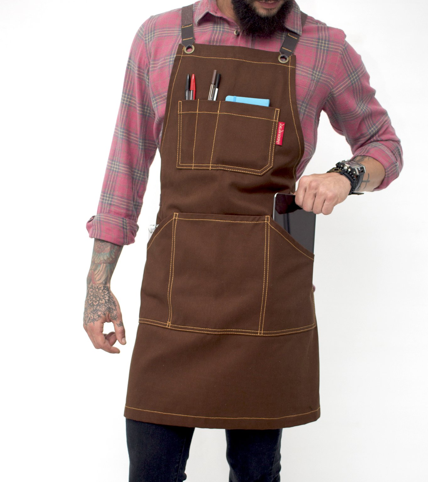 Under NY Sky Essential Chocolate Brown Apron – Cross-Back with Durable Twill and Leather Reinforcement, Adjustable for Men and Women – Pro Chef, Tattoo Artist, Baker, Barista, Bartender, Server Aprons
