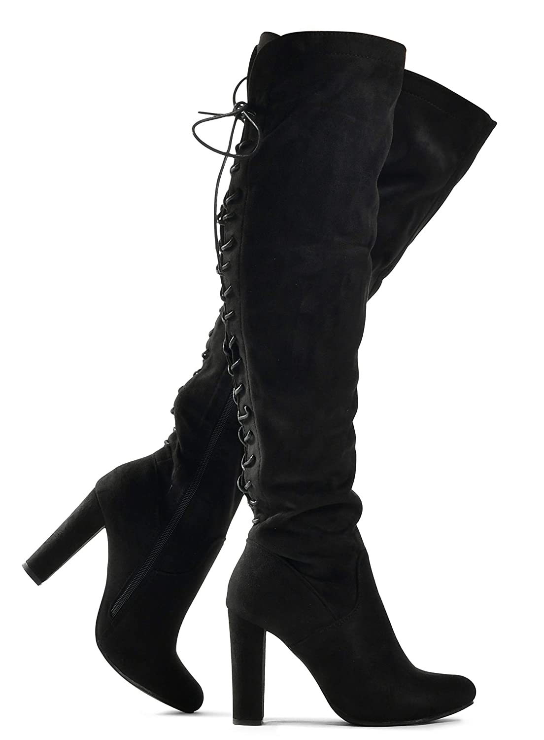 847464981f0 Zoe Stretch Thigh High Boots - Trendy Comfortable Block Heel - Over The  Knee Pullon Sexy Back Lace Up