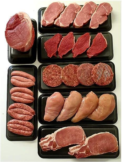 Extra Value Bargain Family Meat Hamper Pack Bulk Buy Pork Steak Sausage Bacon Chicken Burgers Gammon Joint Fresh Modern Family Buy: Amazon.co.uk: Grocery