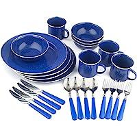 Stansport 24-Piece Enamel Camping Tableware Set (Blue)