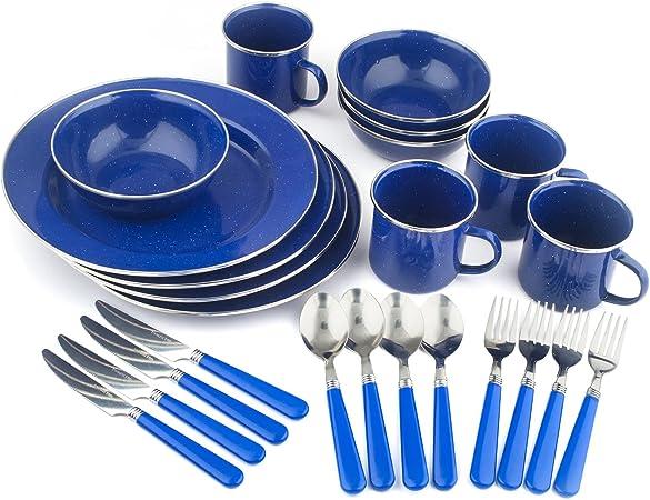 Stansport 24-Piece Enamel Tableware Set