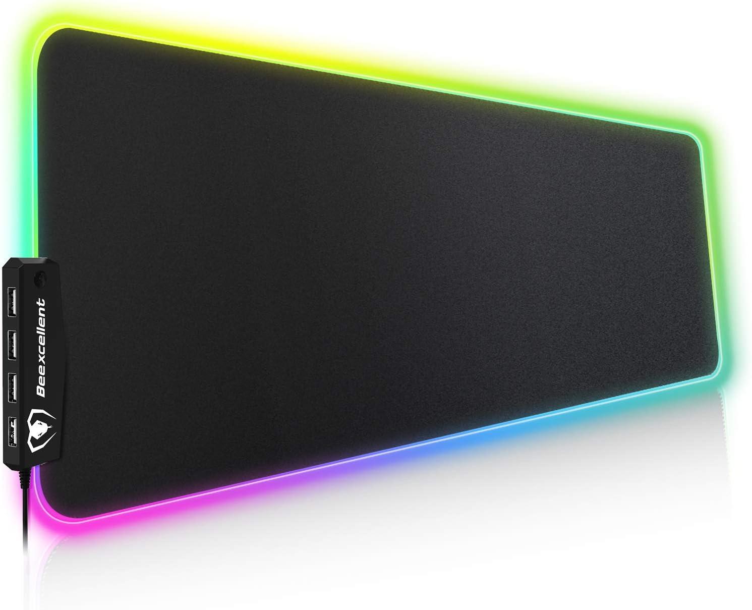 Beexcellent Alfombrilla Gaming, 800x300x5mm 14 Modos de Iluminación RGB Ajustables y 4 Puertos USB. Alfombrilla de Ratón para Juegos Súper Gruesa, Función Impermeable y Antideslizante