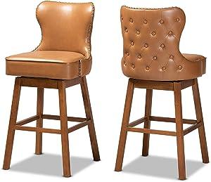 Baxton Studio Set of 2 184-11402-AMZ Bar Stools, Tan/Walnut Brown