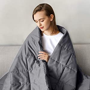 joybest Weighted Blanket 12 LBS 60X80 Queen King Size Soft Comfortable Breathable 100% Cotton Washable Weighted Blanket Glass Beads for (100-140 LB Person) Kids Adult Man Woman Grey