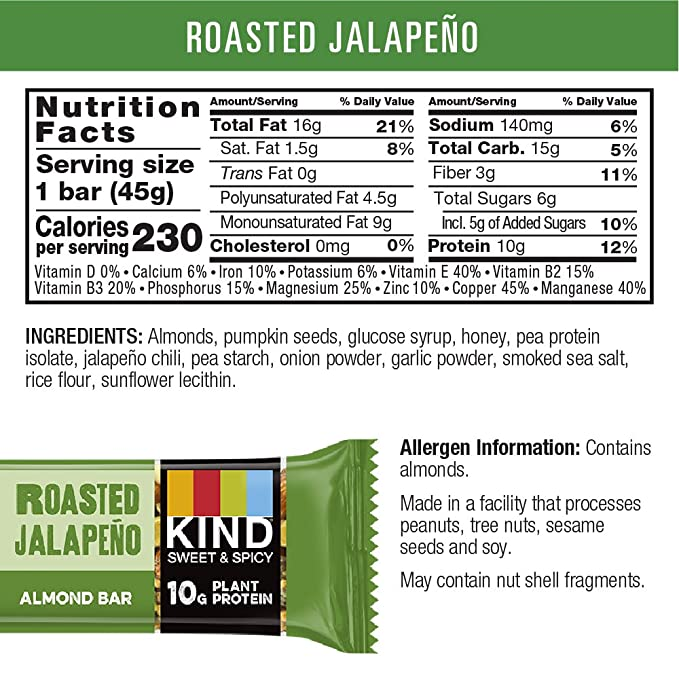 STRONG & KIND Protein Bars, Roasted Jalapeno Savory Snack Bars, 1.6 Ounce, 12 Count: Amazon.es: Salud y cuidado personal