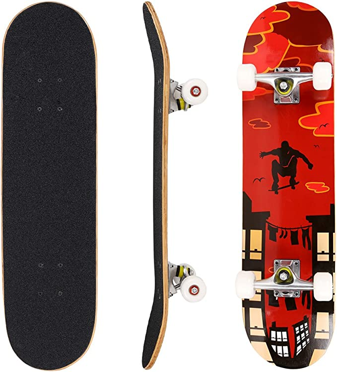 Complete Skateboard 31x 8 7 Layer Canadian Maple Double Kick Deck Concave Cruiser Trick Skateboards for Kids Boys Girls Youths Beginners. FISH SKATEBOARDS Standard Skateboard