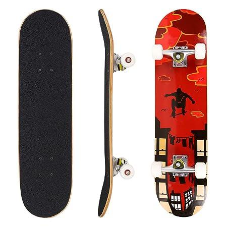 Hikole Skateboard for Kids Teen Adult - Complete Profession Wood Full Size Skate Board 31'x 8'