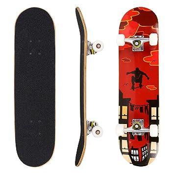 "Hikole Skateboard for Kids Teen Adult - Complete Profession Wood Full Size Skate Board 31""x 8"""