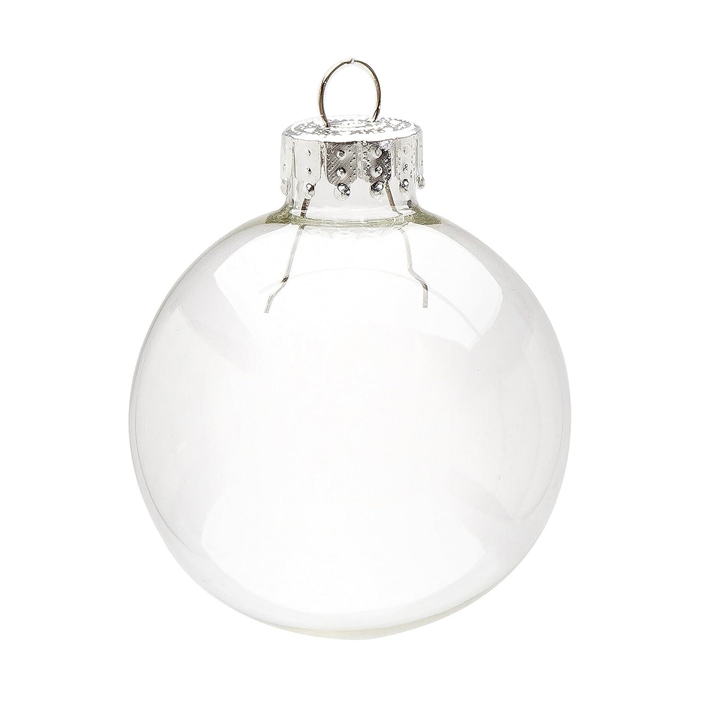 Darice 9-Piece Glass Ball Ornaments, 2-5/8-Inch, Clear HD9430
