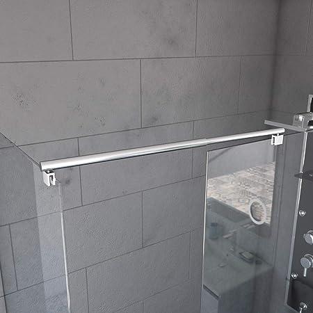 M-Home Barre de support murale en acier inoxydable pour panneau de douche fixe sans cadre 40 cm noir