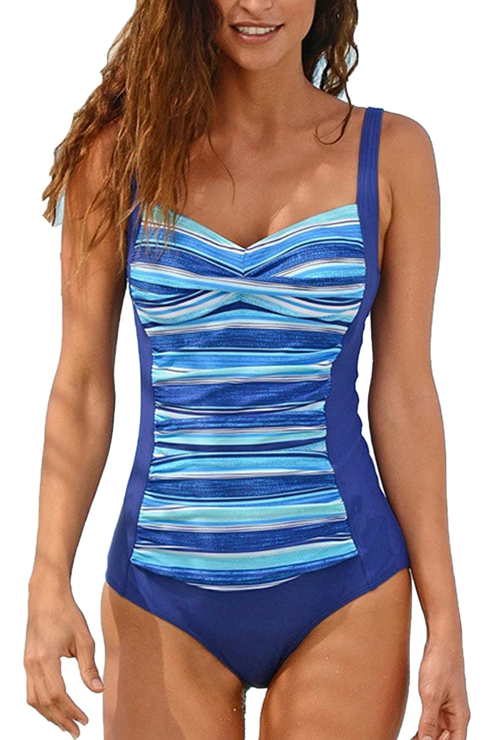 WIWIQS Summer One Piece Twist Tummy Control Swimsuit Padded Swimwear C-ZZHUAHUA