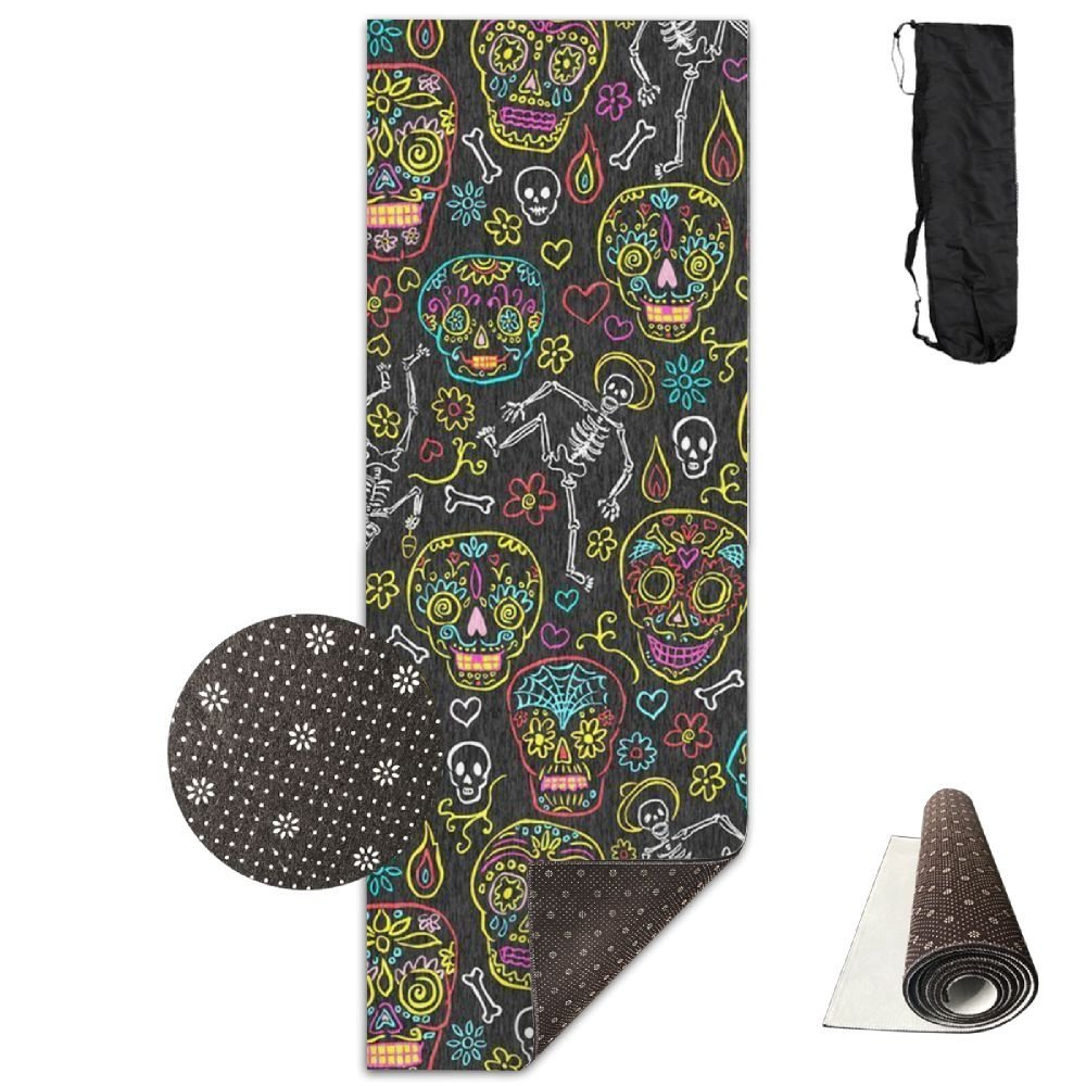 KJDHAPI2 Sugar Skulls Dark Gray Single Side Print Yoga Mat With Carrying Strap For Fitness,Travel And Yoga Class by KJDHAPI