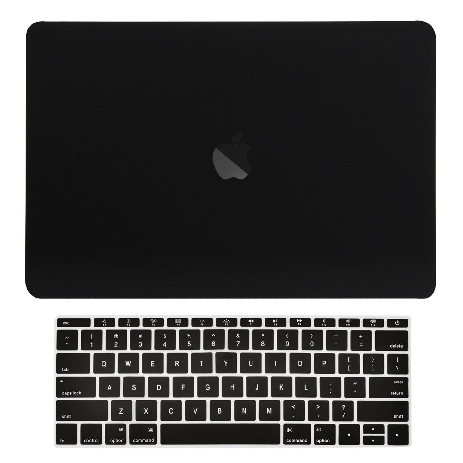 TOP CASE - MacBook Pro 13 Without Touch Bar (Release 2017 & 2016) 2 in 1 Bundle, Rubberized Hard Case Cover + Matching Color Keyboard Cover for MacBook Pro 13-inch A1708 Without Touch Bar - Black