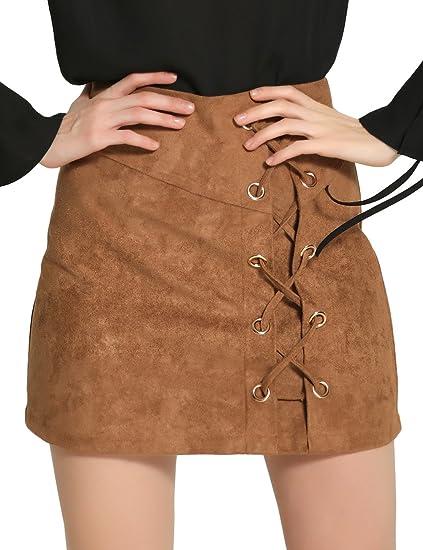 Ruiying Moda Mujer Falda Corto De Ante Imitación Retro Vintage ...