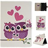 Kindle Fire HDX 7(2013) Tablet Flip Case,Asnlove Shell Ultra The Thinnest and Lightest PU Leather and Hard PC Magnetic Flip Folio Wallet Rotational Stand Back Cover For Kindle Fire HDX 7 Owl Family Pattern