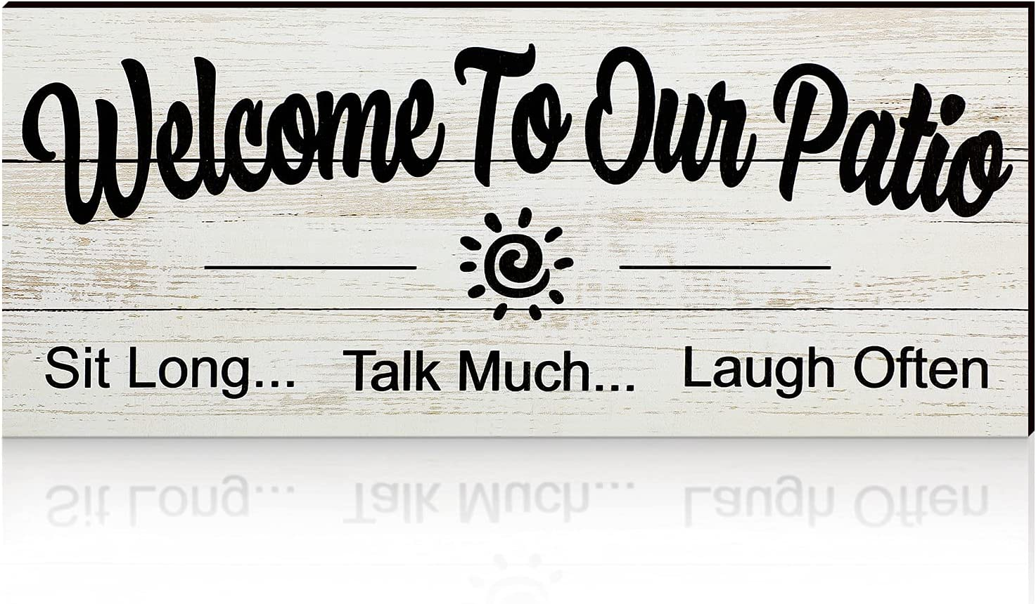 Jetec Welcome to Our Patio Wooden Hanging Sign Vintage Style Wall Sign Hanging Rustic Farm Wood Decorative Funny Home Patio Wall Decor for Indoor, Outdoor, Front Door and Garden Decor