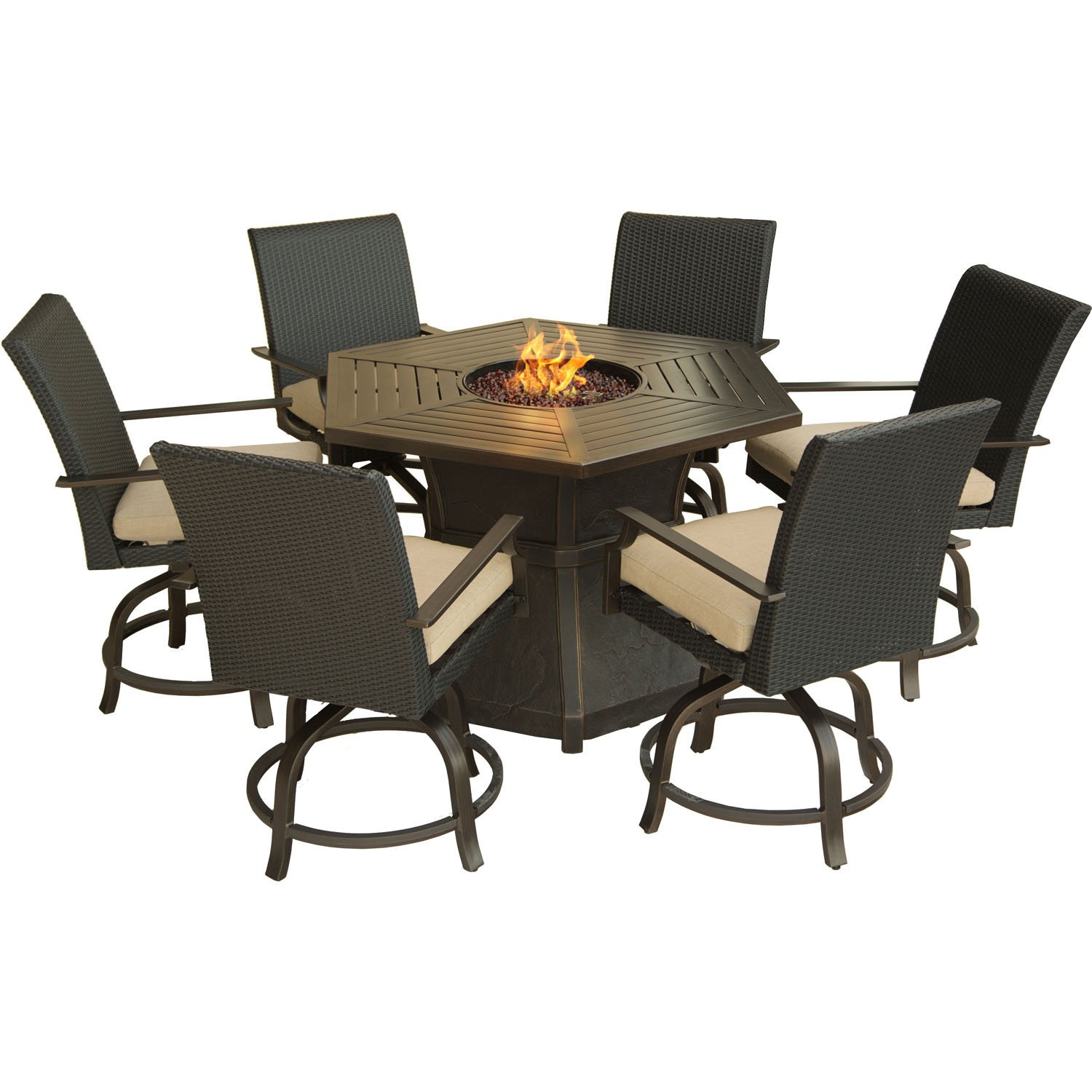 Amazon.com : Hanover 7 Piece Aspen Creek Outdoor Fire Pit Dining Set,  Desert Sunset : Garden U0026 Outdoor