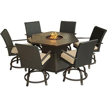 Hanover 7 Piece Aspen Creek Outdoor Fire Pit Dining Set, Desert Sunset