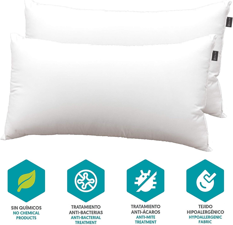 DHestia Hostelería - Almohada Núcleo de Fibra Hueca Siliconada y Funda de 100% Microfibra (Pack 2 uds 70 cm)