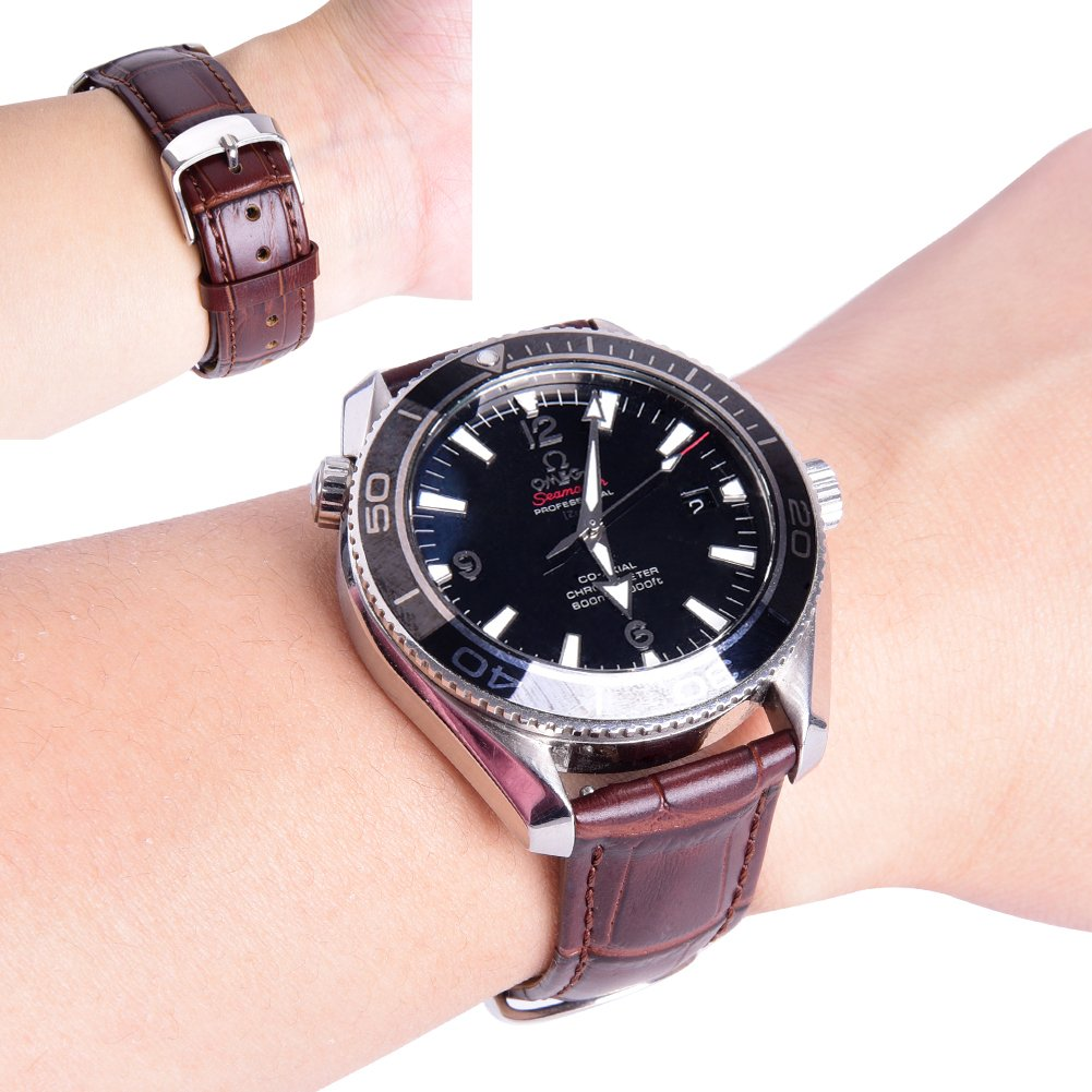 Ritche 18mm Black Brown Quick Release Genuine Leather Watch Bands Replacement Watch Strap for Men Women by Ritche (Image #5)