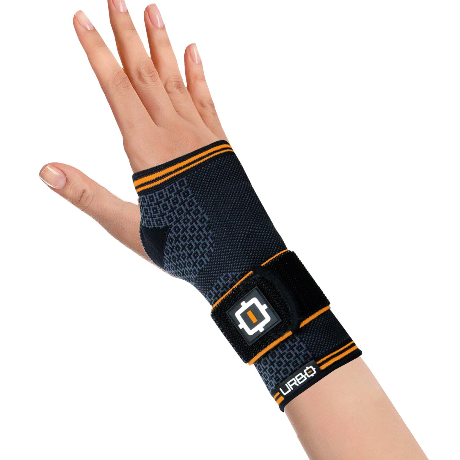 Urbo Wrist Compression Brace with Ergonomic Support for Computer Use Problems Such as Carpal Tunnel Syndrome, Mouse Wrist, Tendinosis and Other Repetitive Strain Injuries (Medium, Right)