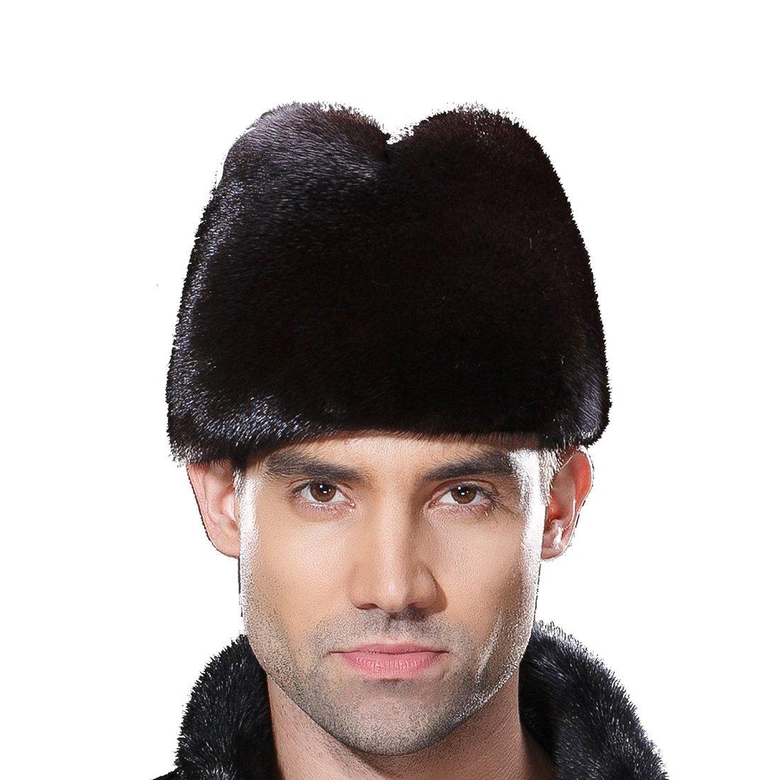 URSFUR Mens Winter Russian Cossack Hat Real Mink Fur Cap