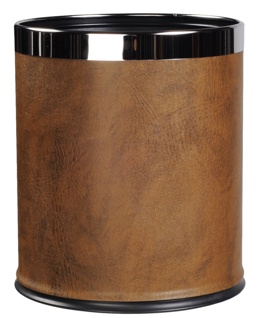 AMENITIES DEPOT Round Shape Faux Leather Metal Trash Can Garbage Bin-8liter/2gallon(GPX-45Brown)