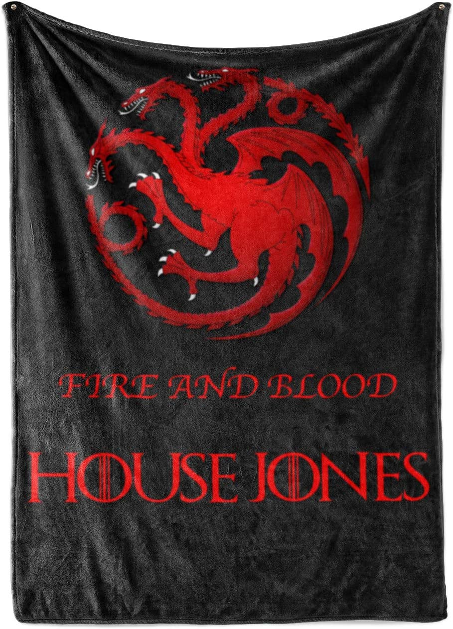Custom House Targaryen Sherpa/Minky Throw Blanket