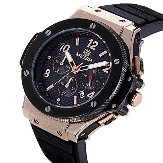 Amazon.com: MEGIR Mens Wrist Watch,Analog Quartz Sports Military Silicone Watches with Big Dial,Waterproof Fashion Casual Chronograph Wristwatch for ...