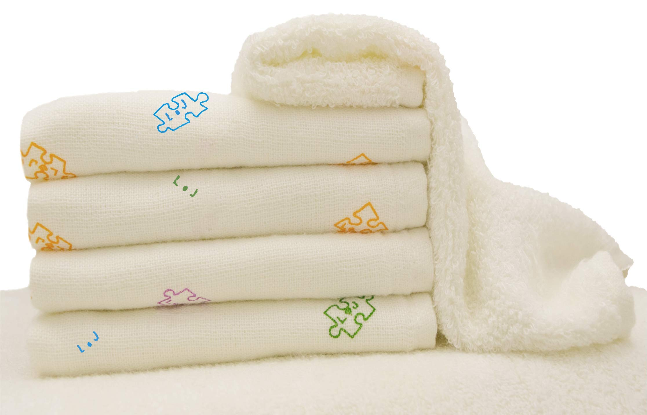 Baby Washcloths | Soft Organic Dual Sided Bamboo Mini Towels | Specialist Recommended | Gentle, Versatile, Perfect for Yours & Babies Delicate Skin | Great Registry Gift | 5 Pack 10'' X 10'' Bubbawarez by Bubbawarez