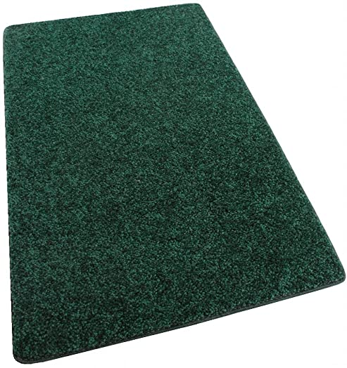 Koeckritz 6 x9 Area Rug Carpet. Emerald Forrest Green 30 oz. Thick. 100 Polyester Fiber, Medium Density, Soft and Durable. Multiple Sizes, Shapes and Brilliant Colors.