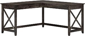 Bush Furniture Key West 60W L Shaped Desk, Dark Gray Hickory