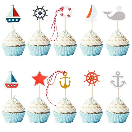 72 decoraciones náuticas para cupcakes para fiesta temática ...