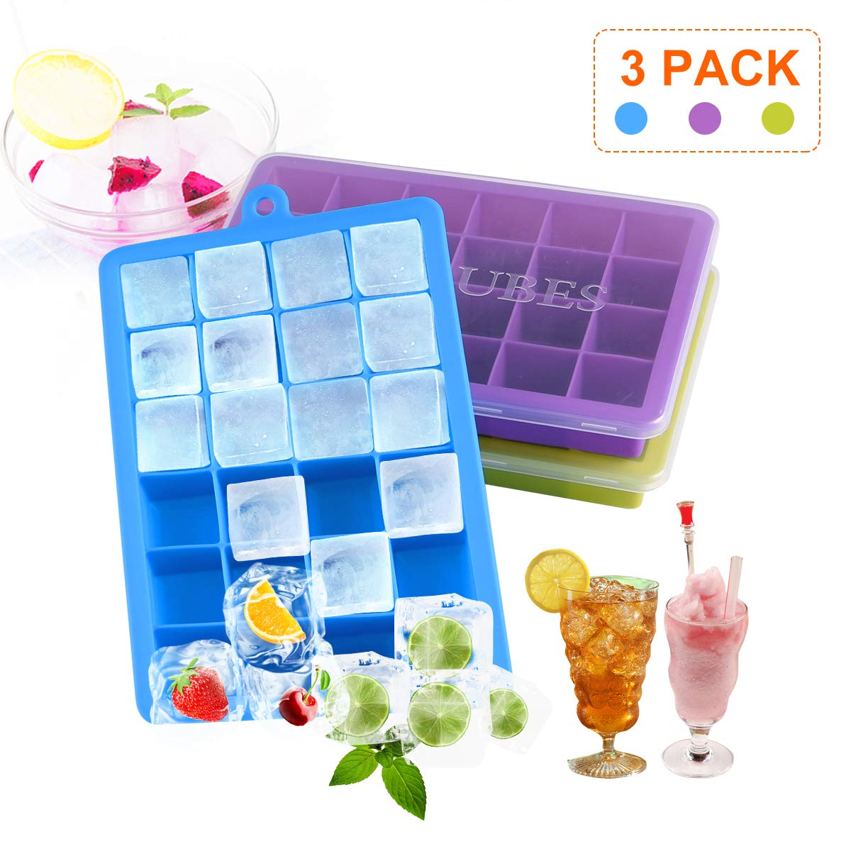 3 Packs Ice Cube Tray, Free Ice Moulds Silicone with Non-Spill Lid, Best Ice Moulds for Freezer, Baby Food, Water, Cocktail and Other Drink