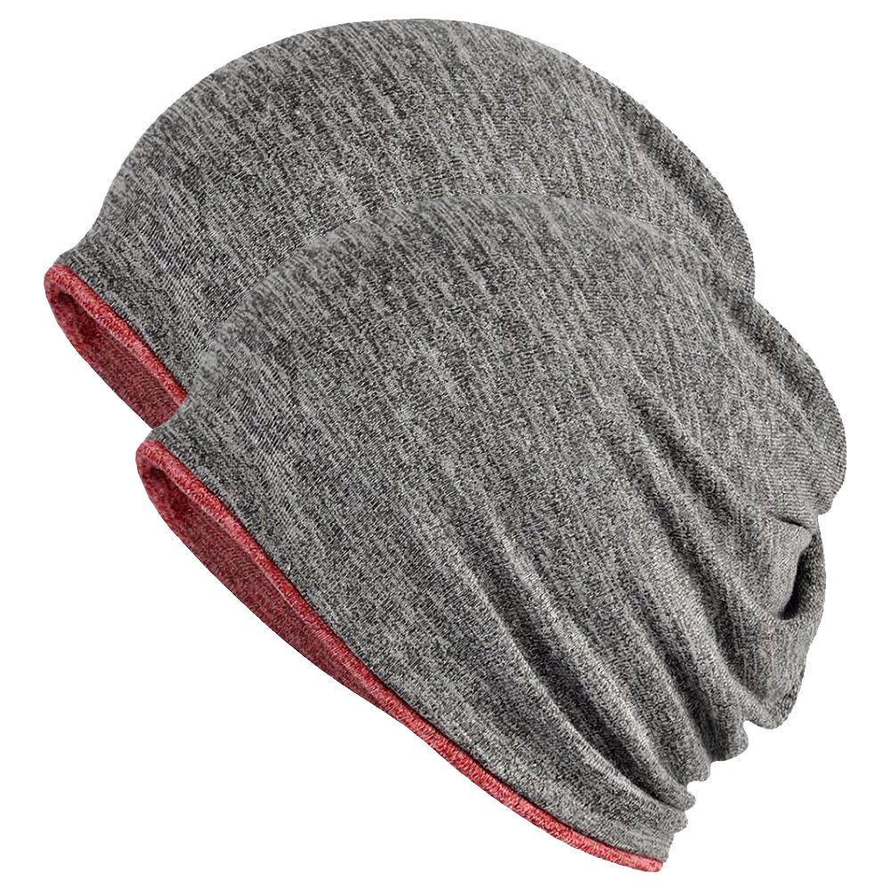 FORTREE 2 Pack Multifunction Slouchy Beanie for Jogging, Cycling (Grey & Red) by FORTREE