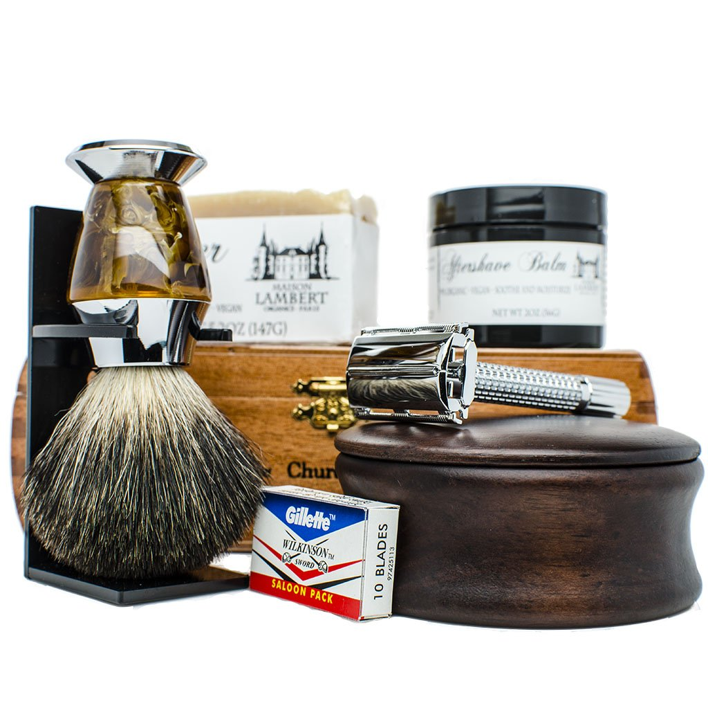 Ultimate Shaving Kit Set with Organic Shaving Soap, Aftershave balm, Wood Shaving Bowl, 100% Pure Black Badger Shaving Brush and Double Edge Safety Razor with 10 Blades. Best fathers day gift!