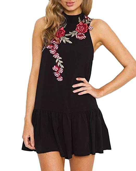 Auxo Vestidos Faldas Halter Mujer Blusa Volante Tops Largo con Flores Bordados Verano Negro 5 ES