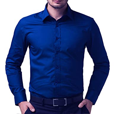 cb33c7d8941 BEING FAB Men's Solid 100% Cotton Regular Fit Casual Royal Blue Shirt   Amazon.in  Clothing   Accessories