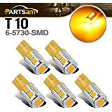 Partsam 5x Amber Yellow 10-5730-SMD Super bright 168 2825 W5W 194 T10 LED bulbs for Cab Roof Running Marker Clearance Lights 12V