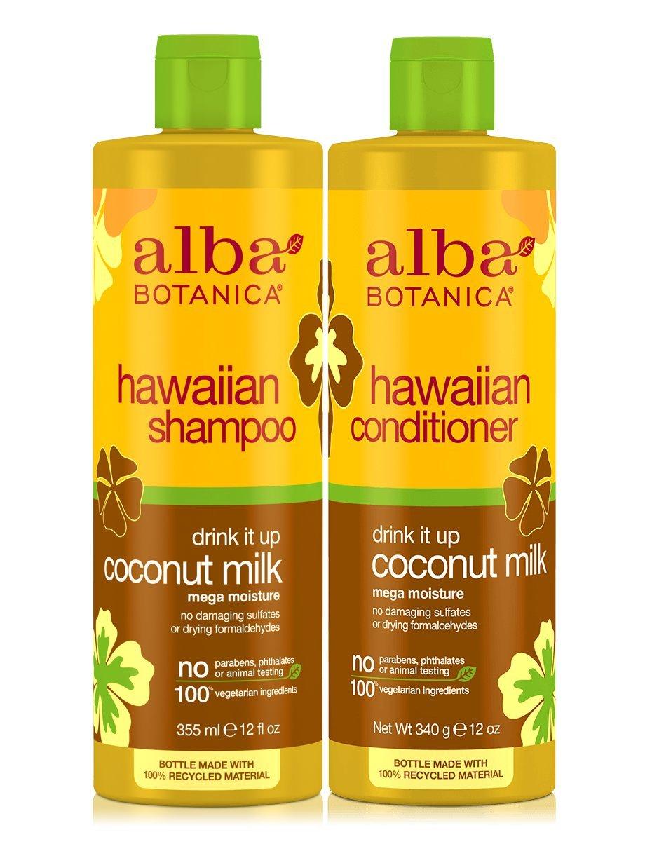 Alba Botanica Drink It Up Coconut Milk, Hawaiian Duo Set Shampoo and Conditioner, 12 Ounce Bottle Each