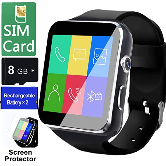 Smart Watch for Android Phones[FREE SIM 8G SD CARD],Business Touch Screen  Smartwatch with Two-way Calling Texting Internet Music Player