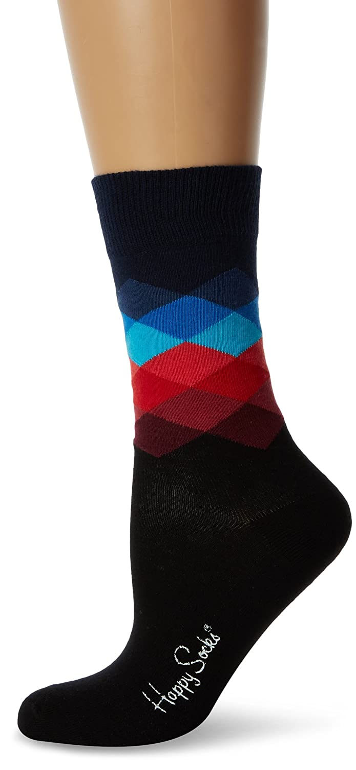 Happy Socks Faded Diamond Sock, Calzini Donna, 100 DEN (Pacco da 6) (Multi Dunkel Blau 069) Taglia Unica(Pacco da 6) FD01-069